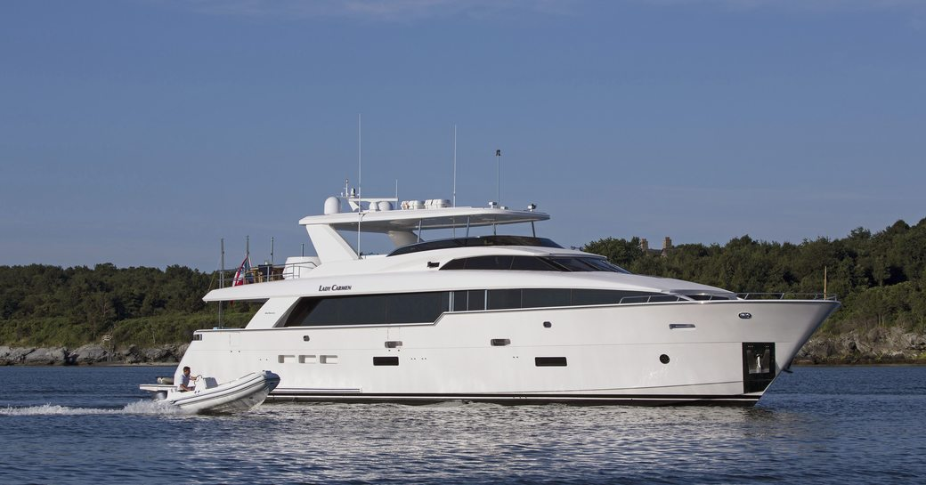 motor yacht 'Lady Carmen' cruises in New England on a luxury yacht charter