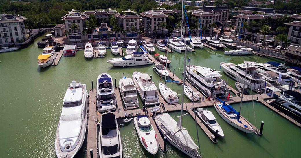 yachts gather in the Royal Phuket Marina for the 2017 Phuket International Boat Show