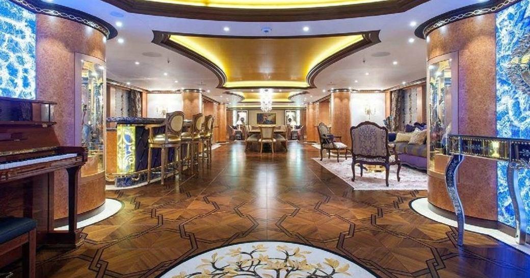 Charter yacht SOLANDGE's beautiful Aileen Rodriguez designed interior