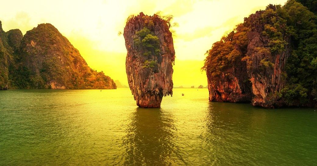 James Bond Island as the sun sets in Thailand