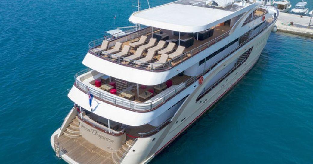 aft deck of yacht Queen Eleganza