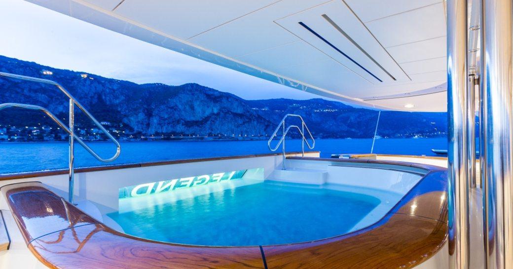 Outdoor jacuzzi onboard superyacht Legend