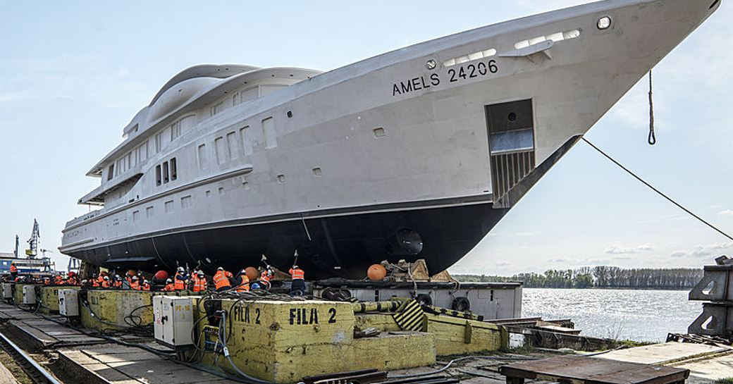 superyacht by amels preparing for launch