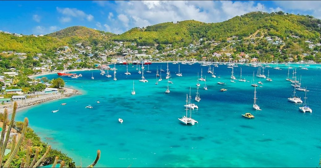 Yachts moored in Bequia, Caribbean