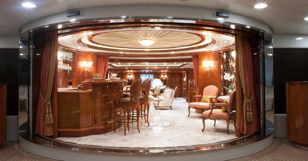 View of cocktail bar and main salon onboard St David