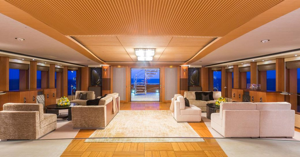 seating areas in the large main salon aboard luxury yacht WHEELS