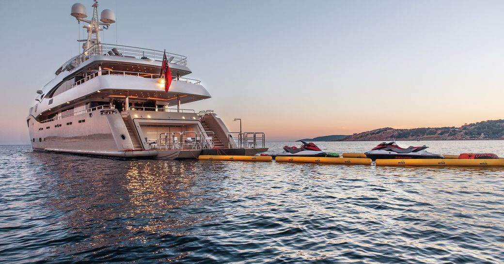 light holic superyacht with toys laid out
