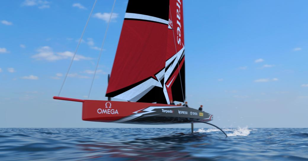 rendering of the new AC75 concept to be raced at the 36th America's Cup in New Zealand