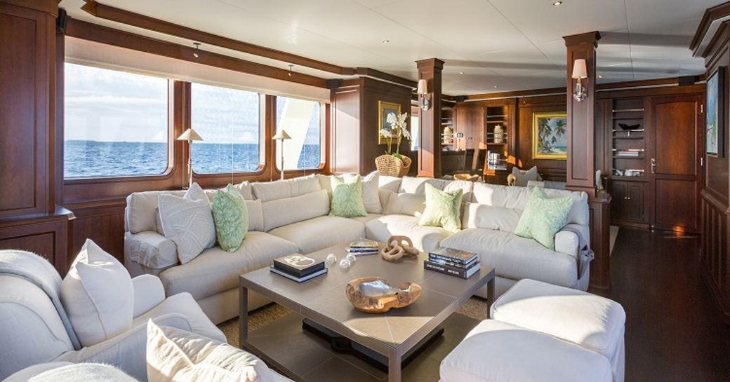 sociable lounge area in main salon aboard superyacht PIONEER