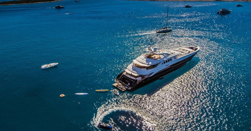 agram yacht aerial shot of luxury yacht at anchor