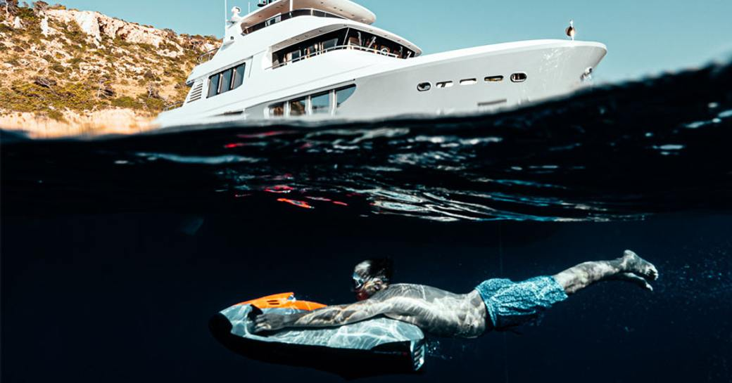 Charter guest takes Seabob for a spin on luxury yacht SEAL