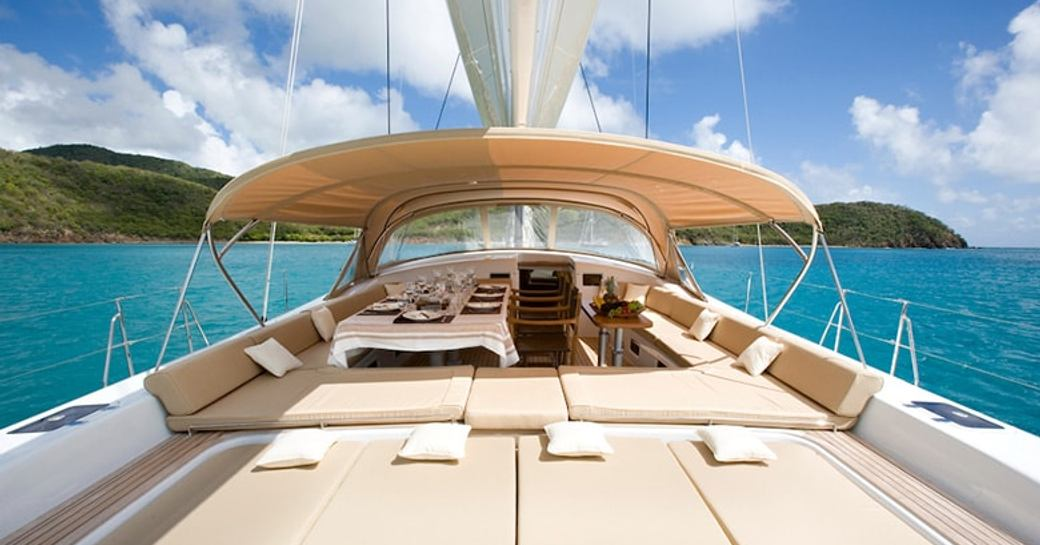 sunbeds and cockpit on board sailing yacht RAPTURE