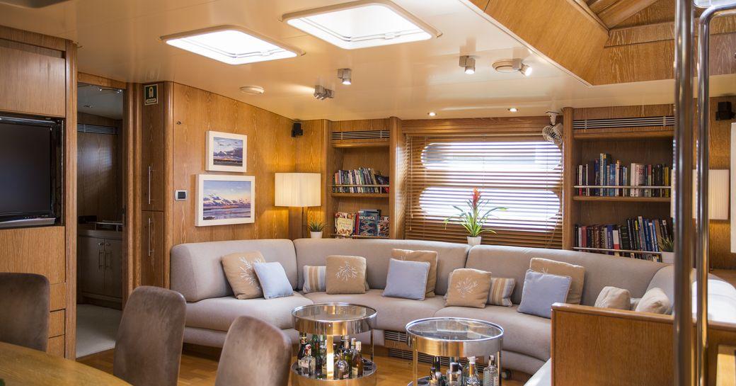 main salon on board charter yacht songbird