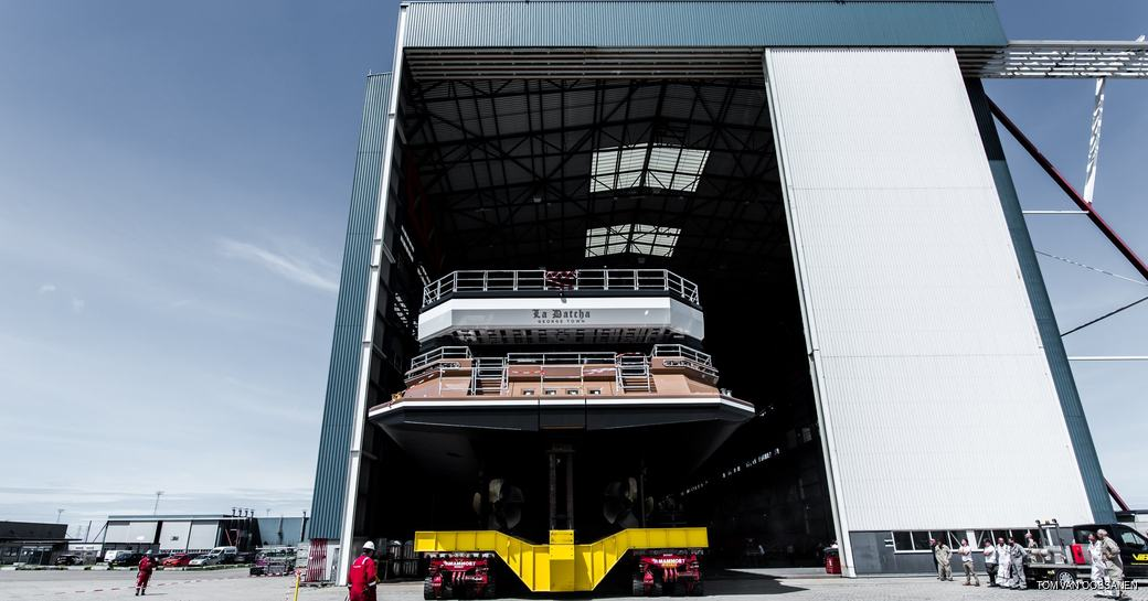 la datcha superyacht rolls out of shed