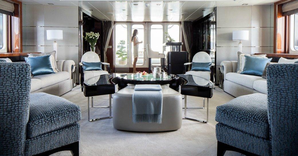 art deck style main salon on board superyacht TURQUOISE