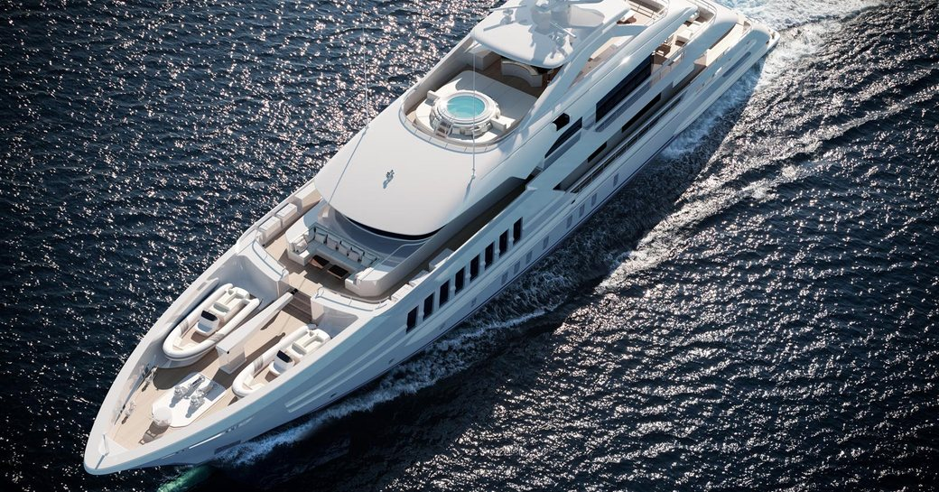 luxury yacht moskito aerial view, with sundeck jacuzzi and tender storage on foredeck