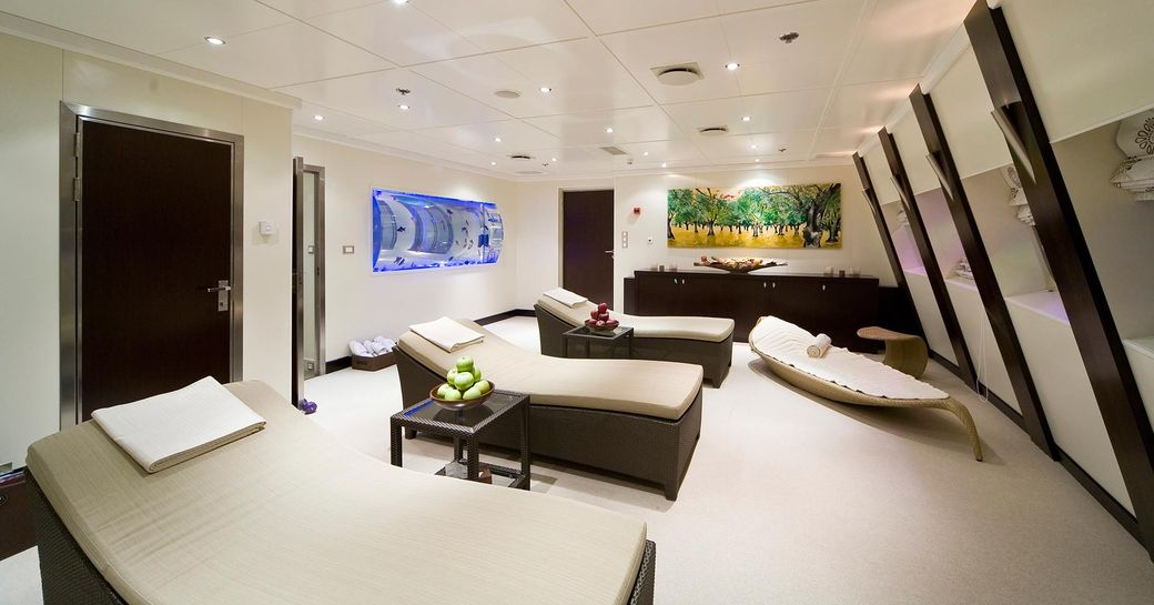 Massage and treatment room on board superyacht Lauren L