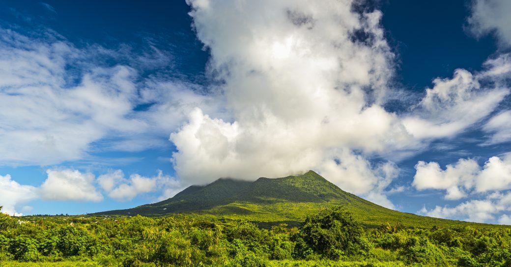 clouds swirl around Nevis Peak on the Caribbean island of Nevis