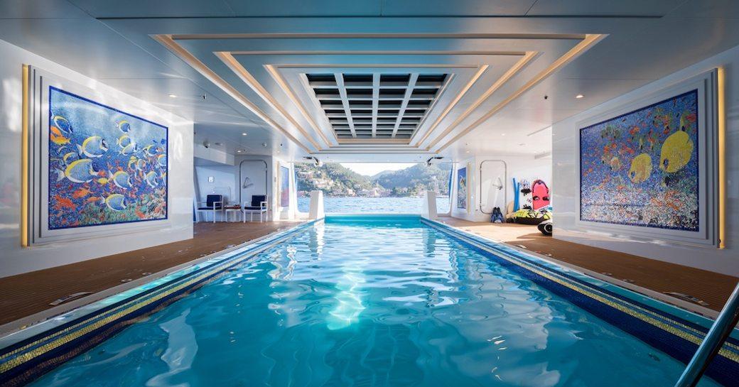 Queen Miri yacht indoor pool