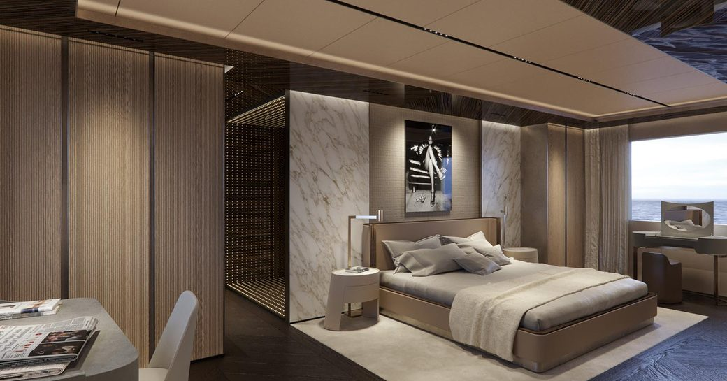 minimalist and airy master stateroom with neutral tone inside charter yacht geco