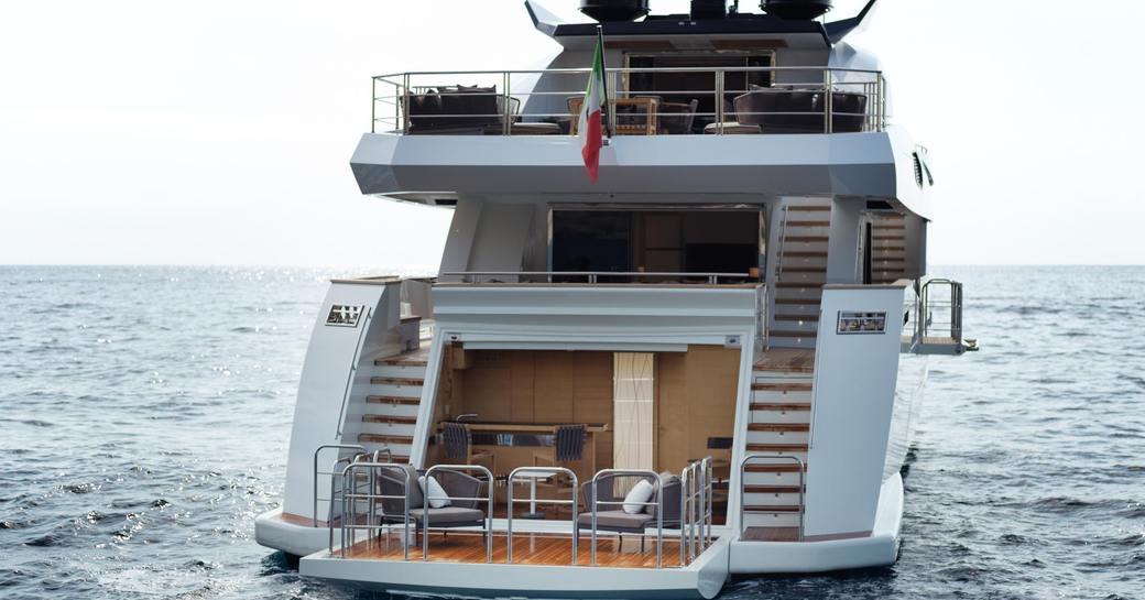 luxury yacht katia beach club and swim platform