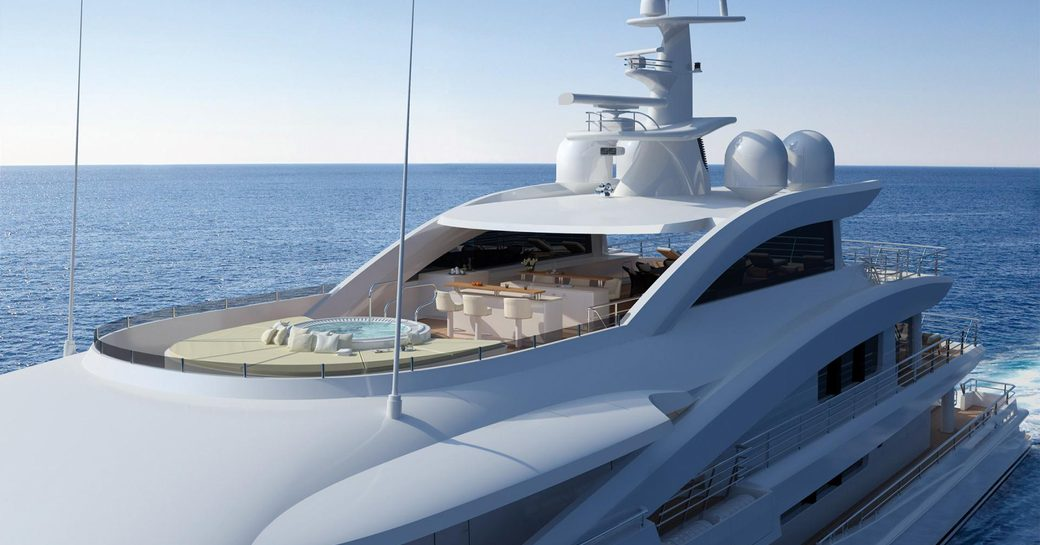 The sundeck of superyacht 'Volpini 2'
