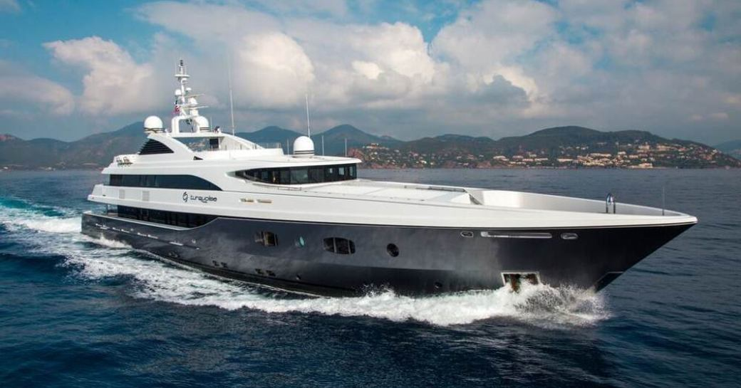 motor yacht TURQUOISE underway on a luxury yacht charter