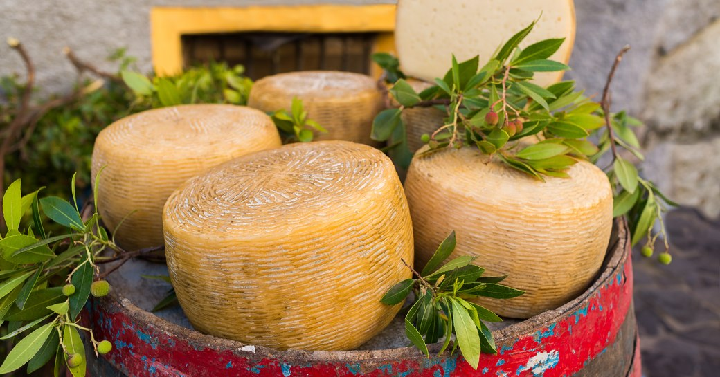 Four round Pecorino Sardo cheeses from Sardinia displayed on top of a barrel and decorated with leaves