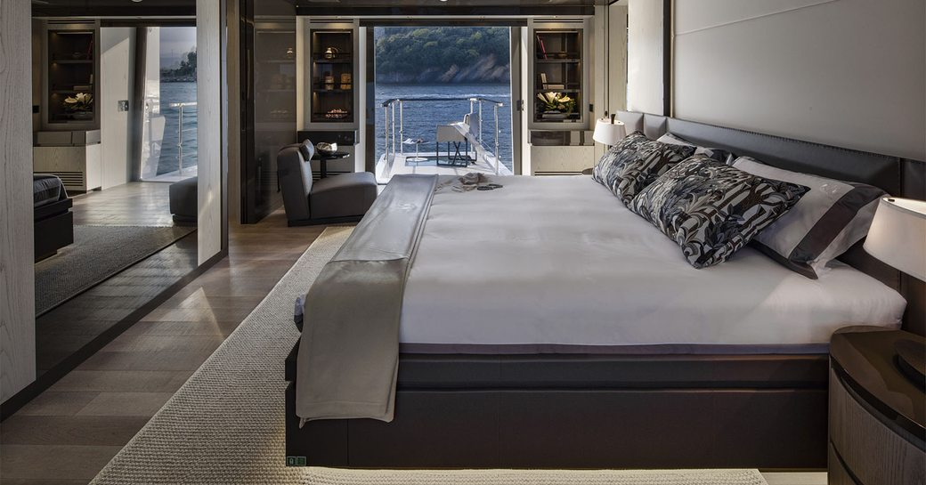 Owner's suite of luxury yacht MA, with balcony