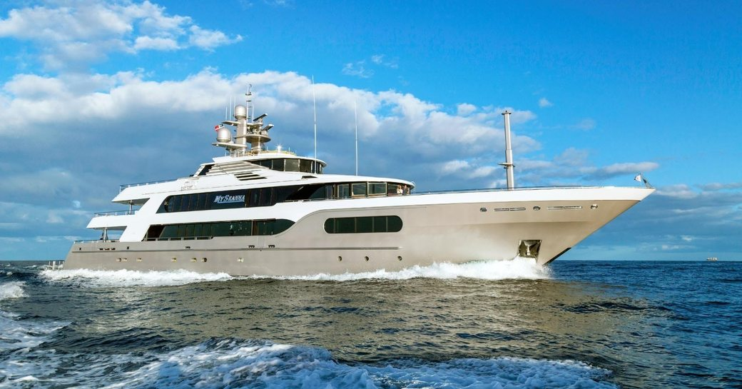 Luxury yacht My Seanna underway profile shot