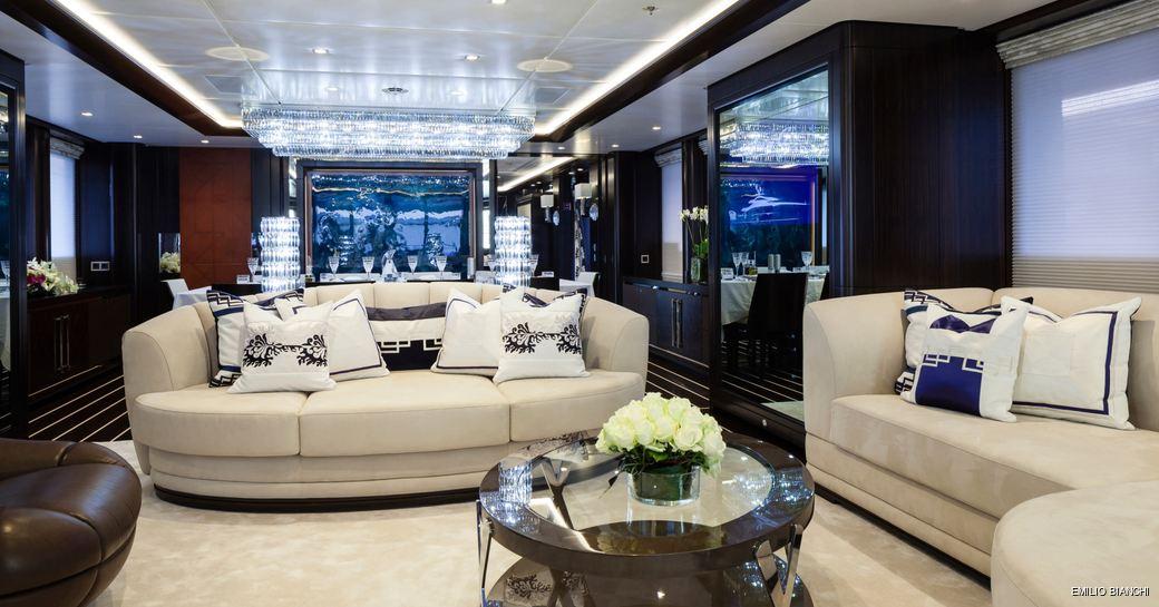 Main salon and sofa seating on luxury yacht Lady Li