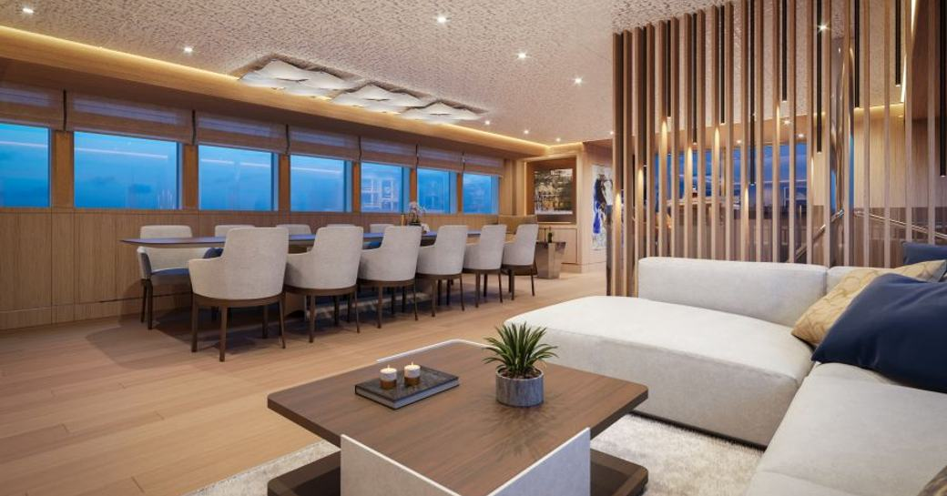 Interior of sailing yacht Love Story showing table and sofa