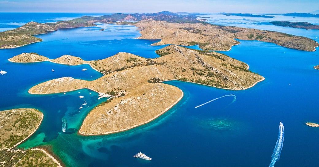 kornati archipelago, with islands and deep blue sea
