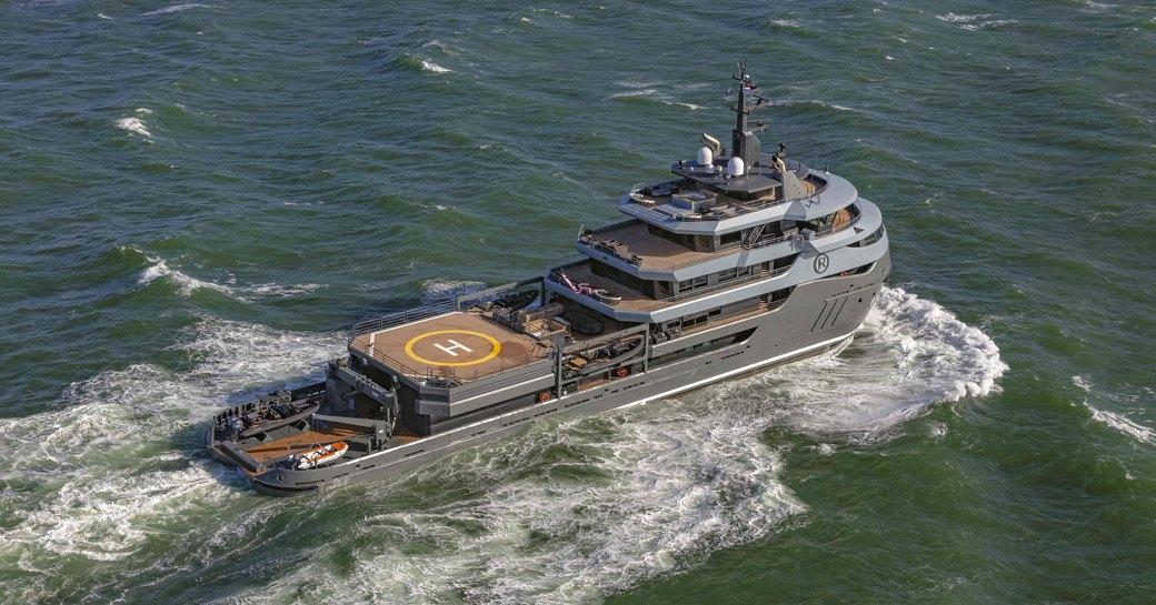 luxury yacht ragnar underway during maiden voyage