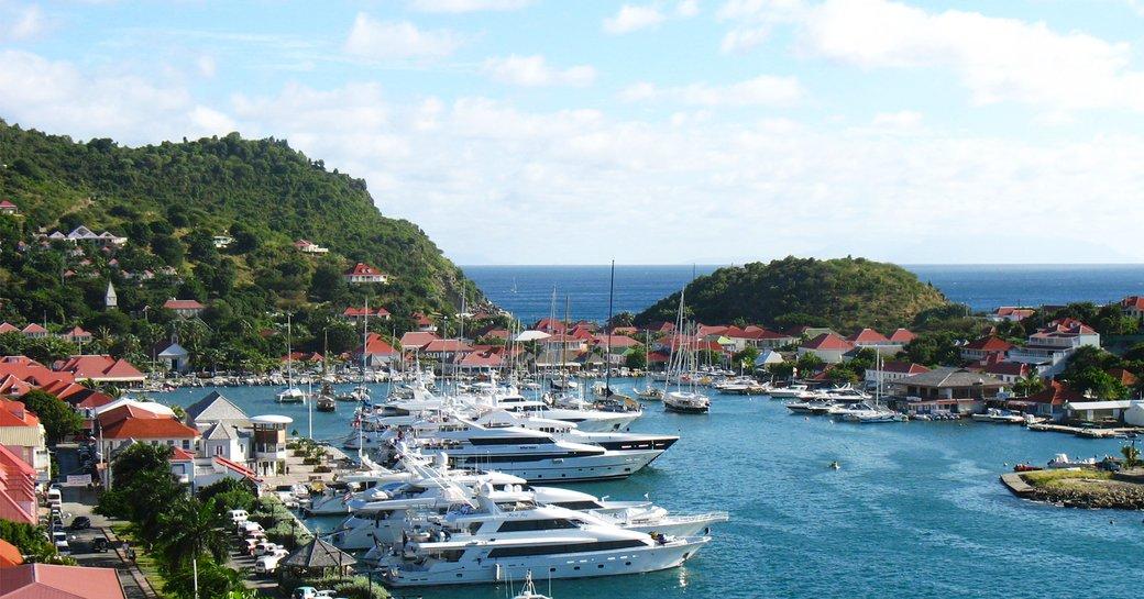 Superyachts gathered in Gustavia, St Barts