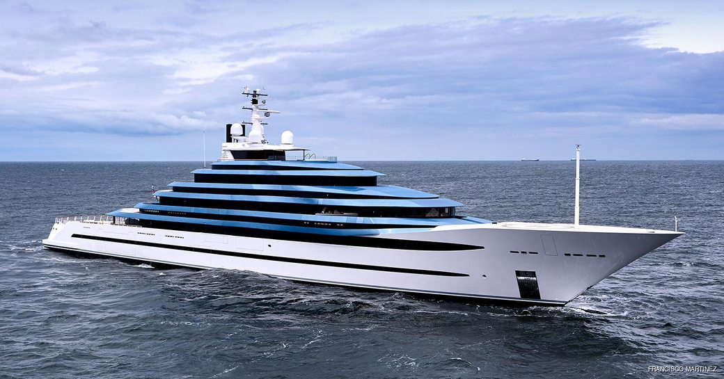 profile shot of luxury yacht kaos, formerly known as jubilee