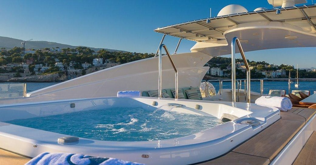 spa pool on the sundeck of motor yacht Africa I