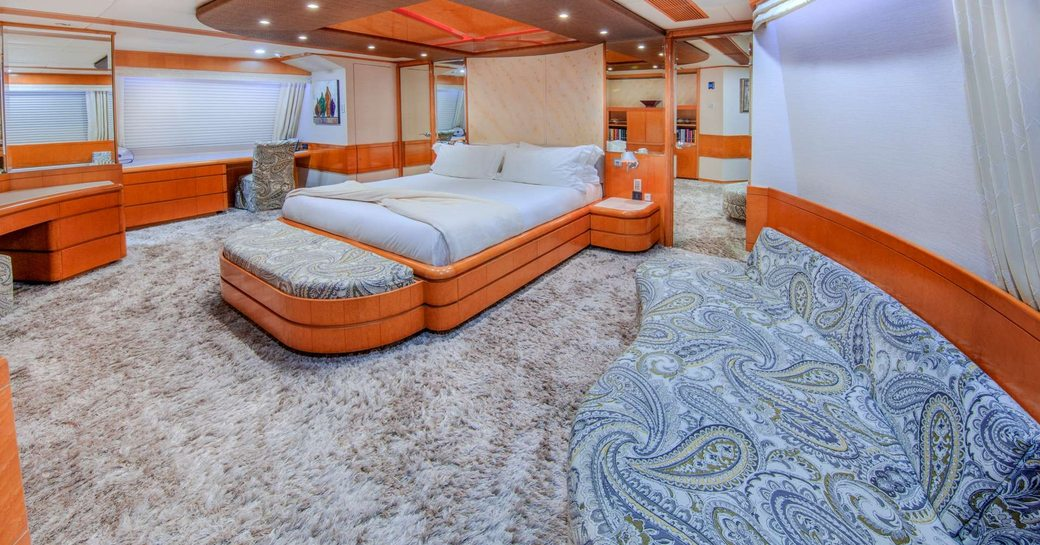 spacious master stateroom with ensuit bathroom inside luxury charter yacht Island heiress