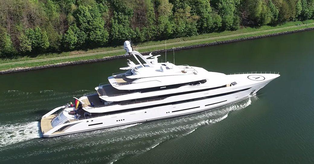 lurssen luxury yacht avantage underway in germany