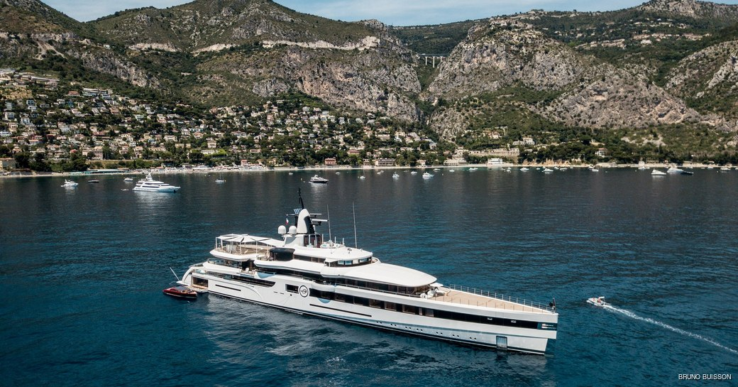 Superyacht Lady S at anchor in the Mediterranean