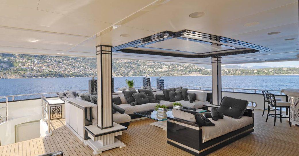 upper deck alfresco social area on superyacht silver angel