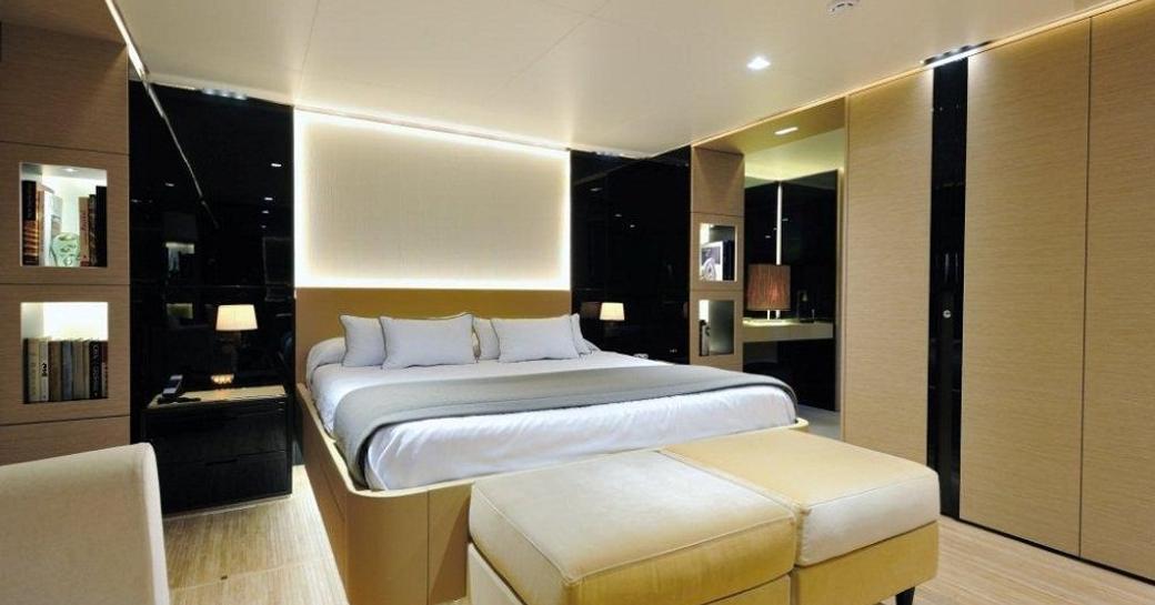 Plush bedroom onboard motor yacht Bertona III