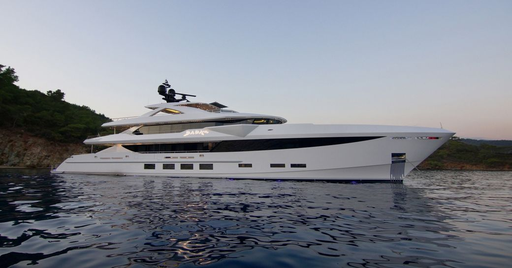 Luxury yacht BABAs at anchor