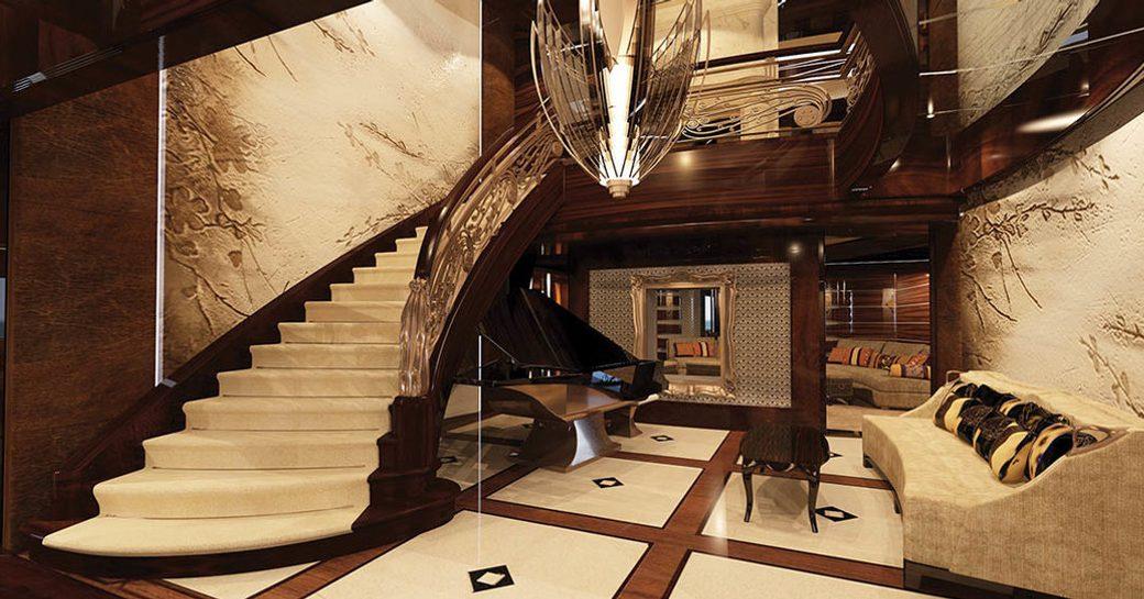 Stunning foyer onboard MY Kismet