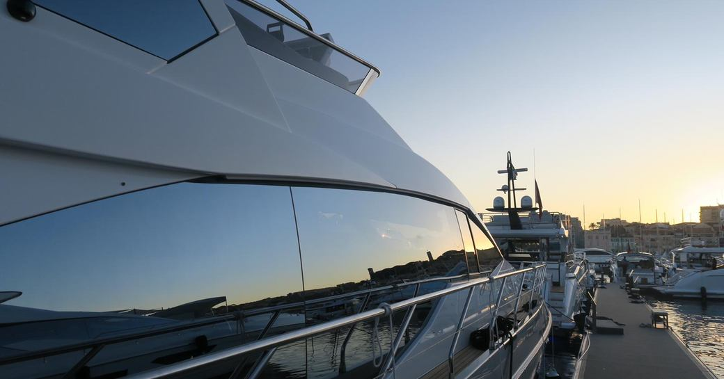 Yachts at sunset during the Cannes Yachting Festival