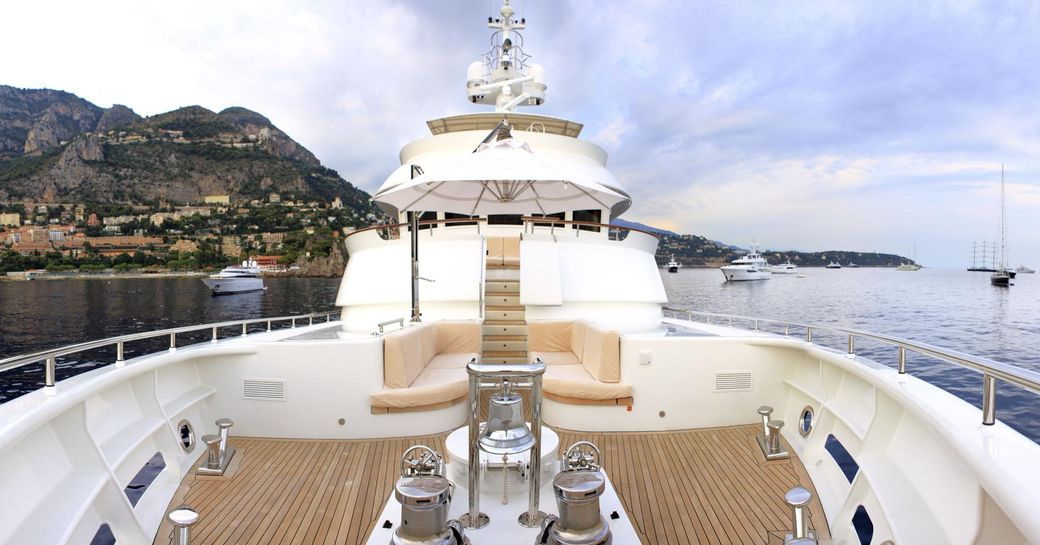 sundeck with alfresco lounge area and crow's nest on board superyacht BELUGA