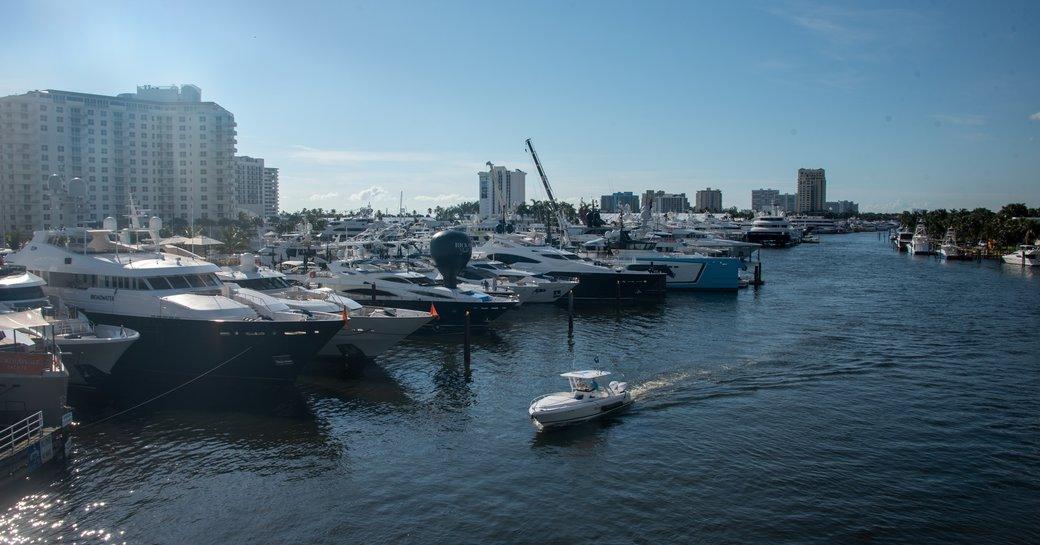 tender crusing the waters by FLIBS 2019 overlooking the impressive and expansive superyacht fleet showcasing various shipyards