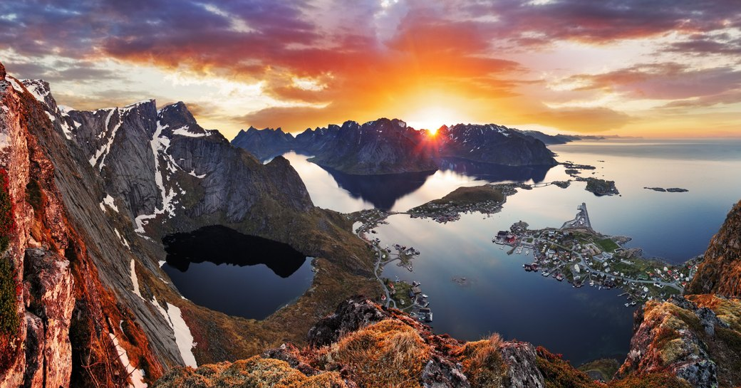 A sunset over the Norwegian fjords