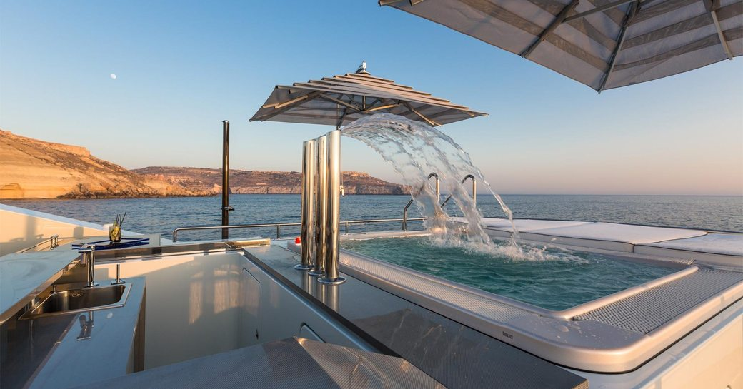 superyacht ocean paradise's waterfall jacuzzi