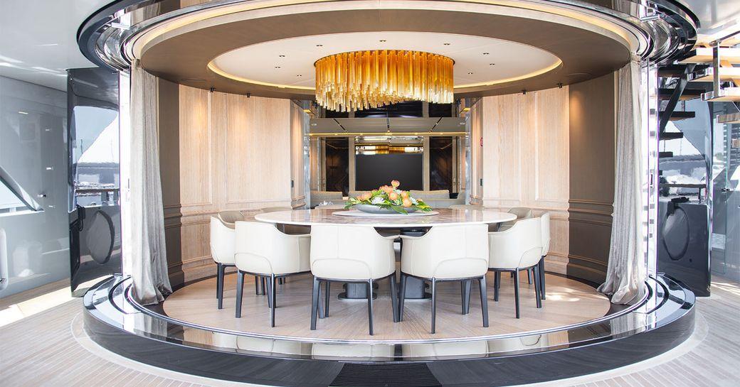 dining salon on superyacht geco